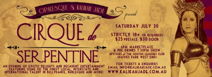 Kalikah Jade co-produced & featured artist at Cirque de Serpentine, Brisbane, 2013